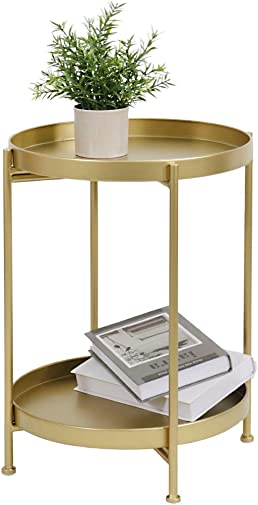 LITA 2-Tier Metal Round End Table,Accent Small Side Table Use as Nightstand,Coffee Table