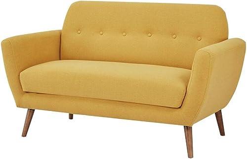 GIA Mid Century Sofa, Love Seat, Yellow Linen