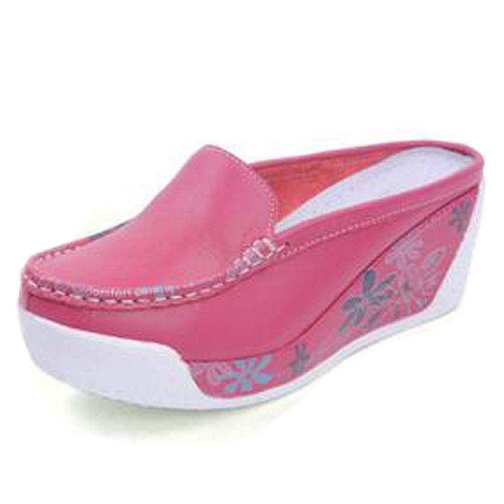 Solshine Damen Leder Blumen Plateau Keilabsatz Slipper Pantoletten Freizeitschuhe  35 EU|Pink