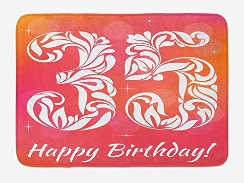(Emiqlandg 35th Birthday Bath Mat, Feminine Design with Floral Elements Swirls Curls Number Vibrant Stars, Plush Bathroom Decor Mat with Non Slip Backing, 23.6 W X 15.7 W Inches, Pink Orange White)