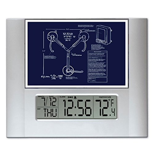 Back To The Future Flux Capacitor Blueprint Plans Digital Wall or Desk Clock with Temperature and Alarm