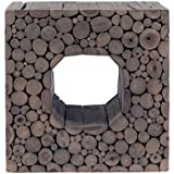 East at Main Memphis Grey Teakwood Square Accent Table, (16x20x20)