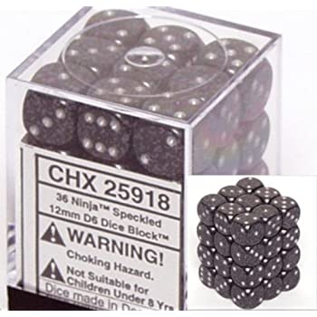 Chessex Dice d6 Sets: Ninja Speckled - 12mm Six Sided Die (36) Block of Dice