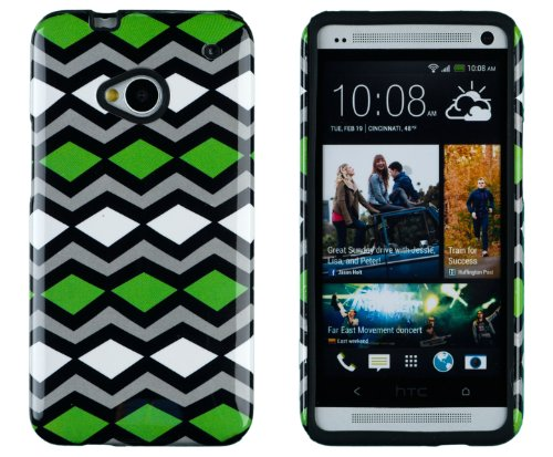 DandyCase 2in1 Hybrid High Impact Hard Lime Green Tribal Chevron Pattern + Black Silicone Case Cover For HTC One M7 4G LTE + DandyCase Screen Cleaner