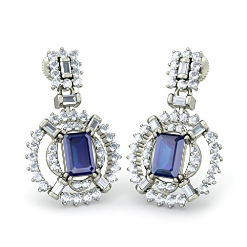 18K Or Blanc 1.01carat au total White-diamond (IJ   SI) et saphir bleu Boucles d'oreilles pendantes