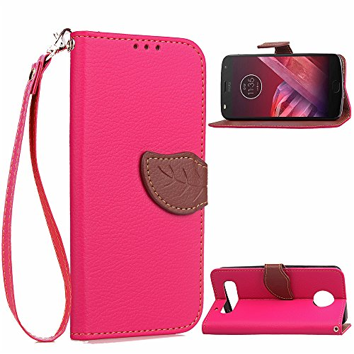 Price comparison product image Moto Z2 Play Case, DAMONDY 3D Leaf Stand Wallet Purse Credit Card ID Holders Design Flip Folio TPU Soft Bumper PU Leather [Magnetic Flap] and Wrist Strap for Motorola Moto Z2 Play-pink