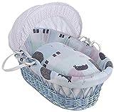 Clair de Lune Stanley & Pip Blue Wicker Moses Basket inc. bedding, mattress & adjustable hood