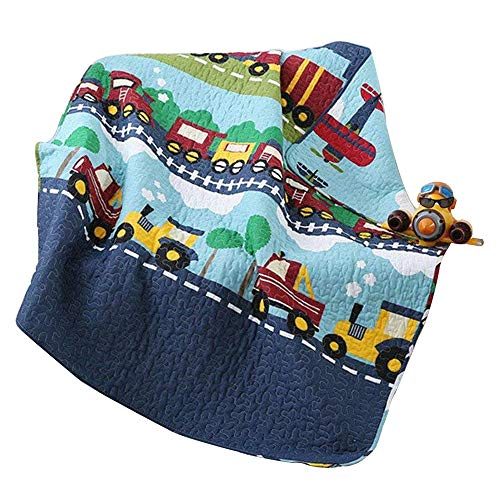 Abreeze 100% Cotton Children's Bedspread, Train Pattern Coverlet Quilt Bedspread Throw Blanket 43