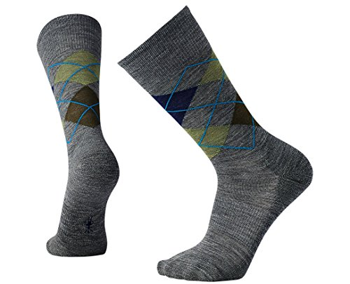 SmartWool Men's Diamond Jim Socks (Deep Navy Heather/Medium Gray Heather) Large (Socks Dress Wool)
