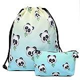 Waterproof Drawstring Backpack ,2 piece set Princool Digital Printed Rucksack Shoulder Bags Gym Bag (Panda) For Sale