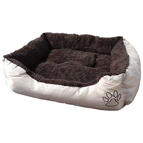 Waschbares Flauschi Tierbett mit Kuscheleinlage für Hund, Katze & Haustier, Größe XL in 90 x 70 x 20cm, innen braun, außen beige inkl. Hundekot-Beutel