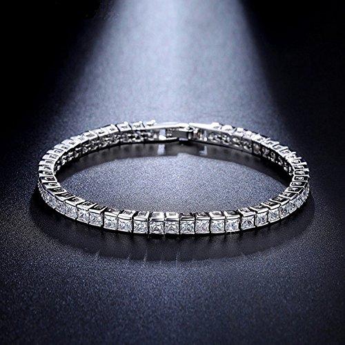 Silvercz Jewels Princess Cut Sim Diamond Box Link Tennis Bracelet 14K White Gold Over For Womens -