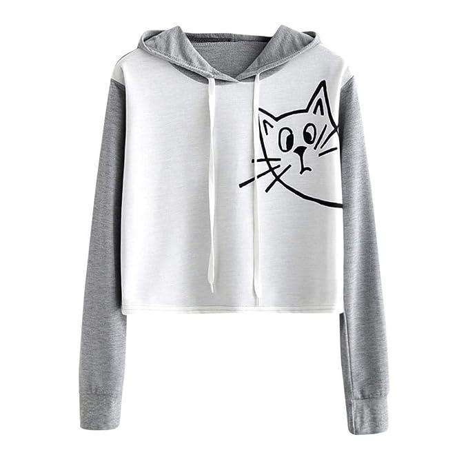 d6932a4979ec Sweatshirt Damen Kolylong Frauen Elegant Katze Drucken Sweatshirt ...