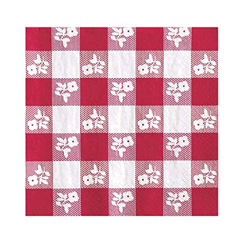 Creative Converting Paper Napkins, Two-ply, 12 7/8 in X 12 3/4 In, Red Gingham, 100 Per Carton (21188) - 2 Pack]()