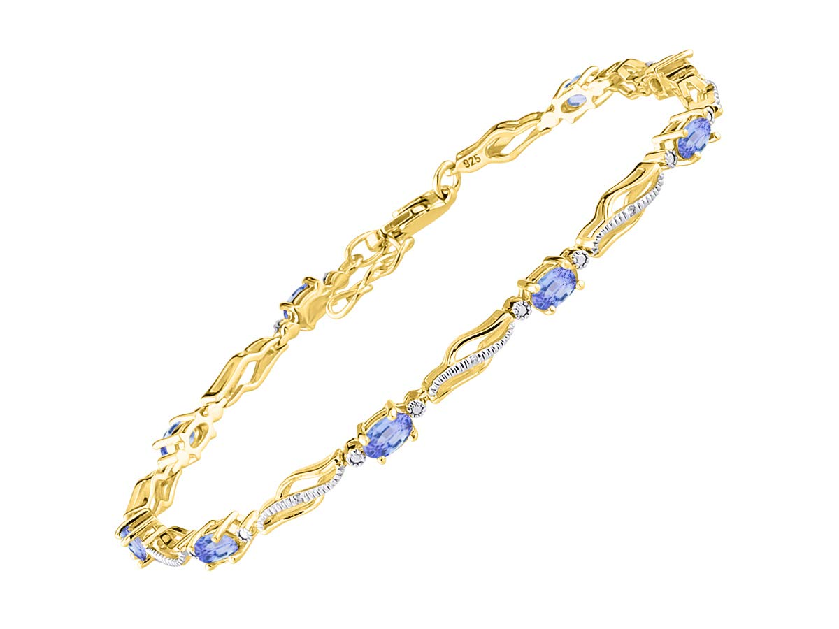 Stunning Tanzanite & Diamond Tennis Bracelet Set in Yellow Gold Plated Silver - Adjustable to fit 7'' - 8'' Wrist