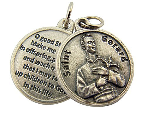 (Silver Toned Base Catholic Patron Saint Gerard Medal with Prayer Back, 3/4 Inch )