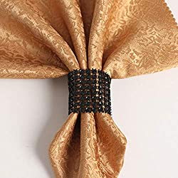 50Pcs Diamond Mesh Wrap Gold Chair Sash Napkin Ring Bling-Bling Party Supply