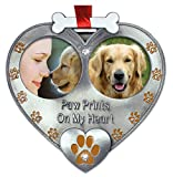 BANBERRY DESIGNS Dog Photo Ornament - Double Picture Pet Ornament - Paw Prints on My Heart Ornament - Dog Memorial Ornament