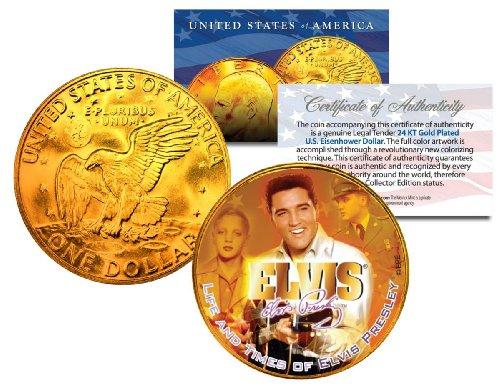 - 1977 ELVIS PRESLEY 24K Gold Plated Genuine Eisenhower IKE Dollar - Officially Licensed