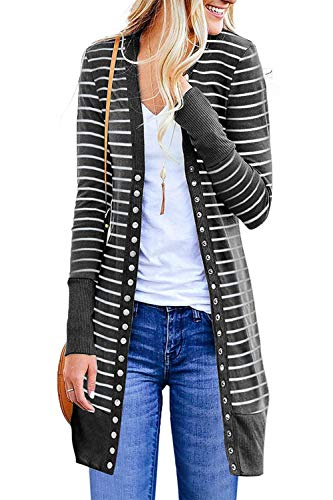(Marysay Women's Striped Long Sleeve Button Down Knit Ribbed Neckline Cardigans Dark Grey Small)