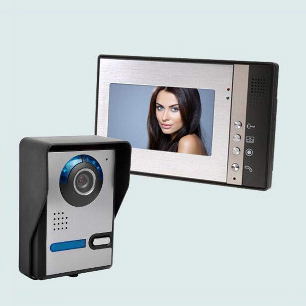 Videoportero Intercomunicador Timbre con Monitor A Color De 7 Pulgadas Y CáMara HD con Timbre De Video Y Cable Timbre Montado En Superficies Al Aire Libre/Resolución: 800x480 (Modelo: 802FA11),B