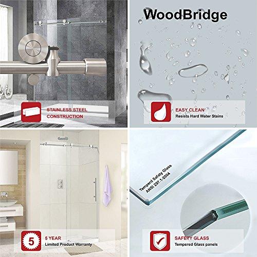 """WoodbridgeBath MBSDF4876-C WoodBridge Deluxe Frameless Sliding Shower Door, Clear Tempered Glass, Chrome Finish, 48"""" x 76"""