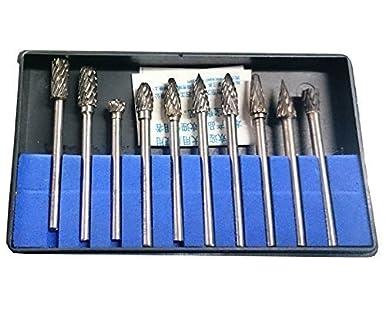 10x Rotary Burr Set Tungsten Head Carbide Burrs 1//8/'/' Shank Die Grinder Bit Tool