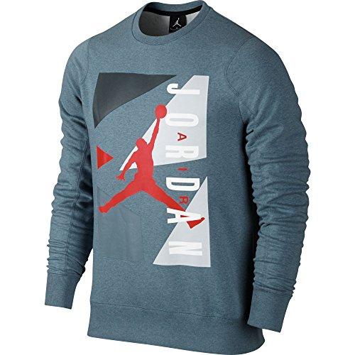 Jordan Air Block Fleece Crew Men's Sweatshirt Heather/Crimson 658311-497,L