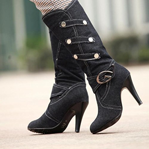 COVOYYAR Denim Boots Jean Winter Women's Shoes Long Knee Black High Autumn Stiletto Boots qqwZrR