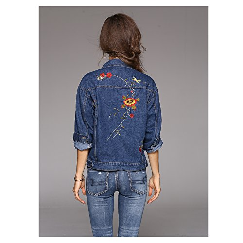 Pocket Turn Fashion Jacket Single Collar TOOGOO R Women's US Sleeve 8~12 Embroidery UK Breasted Blue Floral Long Size 4~8 Spring Casual Outwear Autumn Blue down New One nfAY6Ywzq