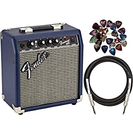 Fender Frontman 10G Electric Guitar Amplifier – Midnight Blue Bundle with 24 Picks and 10-Foot Instrument Cable