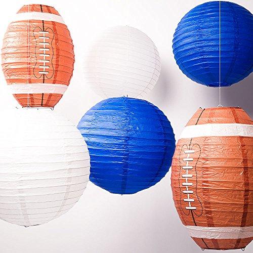 Quasimoon PaperLanternStore.com Dallas Pro Football Paper Lanterns 6pc Combo Tailgating Party Pack (Blue/White) (Dallas Plus Lamps)