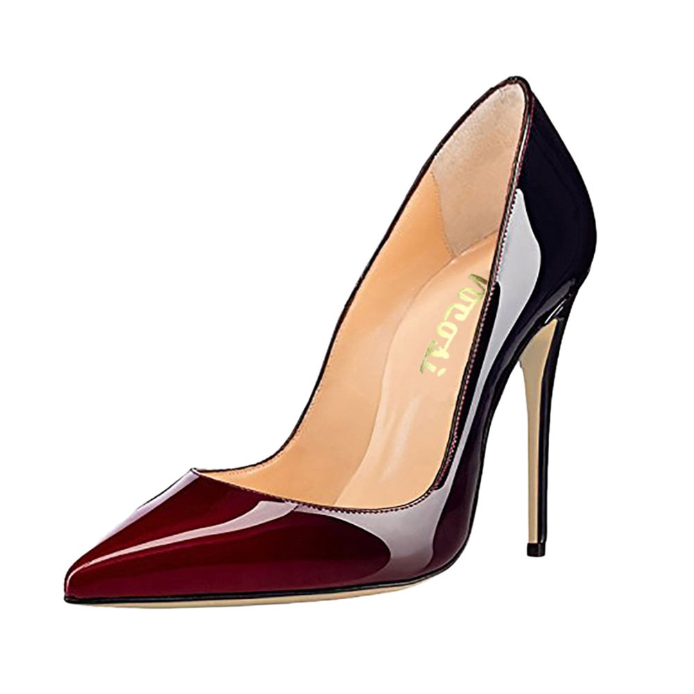 VOCOSI Pointy Toe Pumps for Women,Patent Gradient Animal Print High Heels Usual Dress Shoes B077NXYP1C 9.5 B(M) US|Gradient Wine to Black With 10cm Heel Height