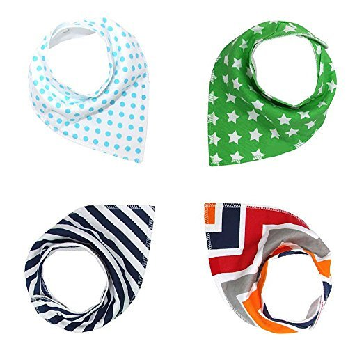 Baby Bandana Drool Bibs For Boys/Girls, Pure/Absorbent/Organic Cotton Burp Cloths, Double Cloth, Set of 4, 4 Kinds of Patterns
