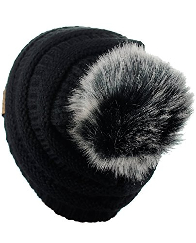 14ad2d36722ab NYFASHION101 Exclusive Soft Stretch Cable Knit Faux Fur Pom Pom Beanie Hat  - Black Gray Pom - HAT43 (YJ64)-BK GY MIX   Skullies   Beanies   Clothing