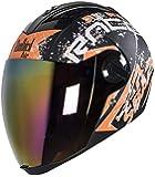 Steelbird SBA-2 Race Full Face Helmet in Matt Finish With Chrome Visor (Large 600 MM, Matt Black/Orange)