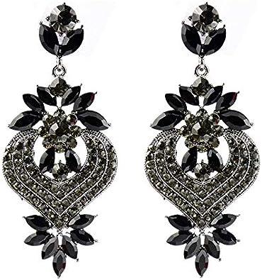 MEEOI exageración de la moda Ear Stud Earrings Ear Hoop 925 de plata esterlina para mujer, aleación de piedras preciosas de época Pendientes huecos