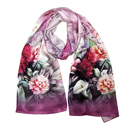 Wrapables Luxurious 100% Charmeuse Silk Long Scarf with Hand Rolled Edges, Blooming Pink ()
