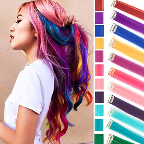 11PCS Multi-Color Party Highlights Clip in Hair Extension Colored Long Hairpiece ()