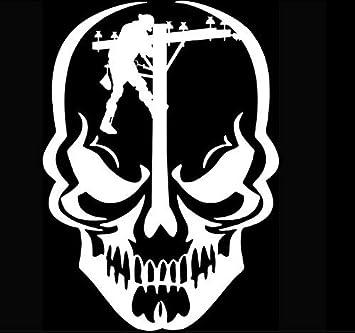 DecalDestination Welder Skull Decal White Choose Size
