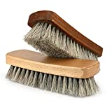 Shoe Shine Brushes MoYag Large Professional Horse Hair Brushes for Shoes, Boots & Other Leather Care