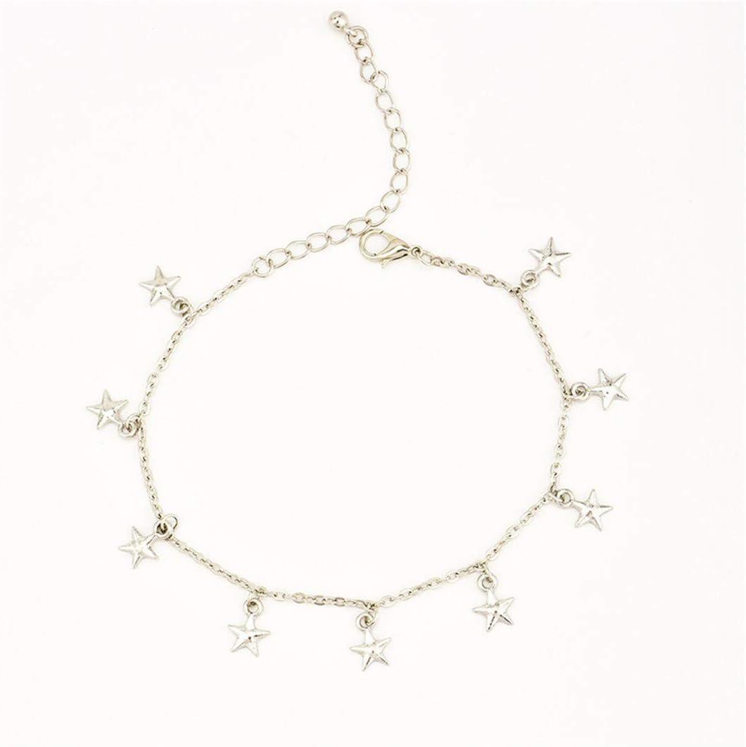 Guoshang Star Exquisite Simple Pentagram Tassel Pendant Anklet Women Barefoot Accessory Foot Ankle Bracelet Beach Jewelry