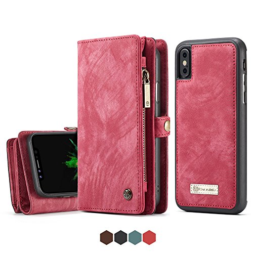 iPhone X Leather Wallet Magnetic Phone Case Detachable Protective Case with Card Holder Folio Flip Cover, - Wallet Leather Fire Case Phone