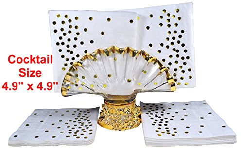 TROLIR Cocktail Napkins, White with Gold Dots, 3-ply, Pack of 50 Disposable Paper Napkins 4.9x4.9 inch Stamped with Sparkly Gold Foil Dots, Ideal for Wedding, Party, Birthday, Dinner, Lunch, Cocktail by TROLIR (Image #1)