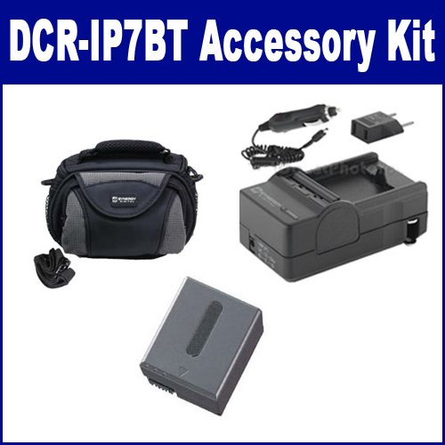Sony DCR-IP7BT Camcorder Accessory Kit includes: SDC-26 Case, SDM-102 Charger, SDNPFF70 Battery (Charger Sdm 102)