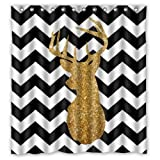 """66""""(Width) x 72""""(Height) Floral Deer Head in Black and White Chevron Bathroom Shower Curtain Shower Rings Included, 100% Polyester"""