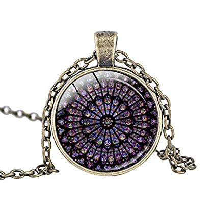 Topgee Charm Pendant Necklace – Rose Window Stained Glass de Paris Cathedral Peeking Black Cat...