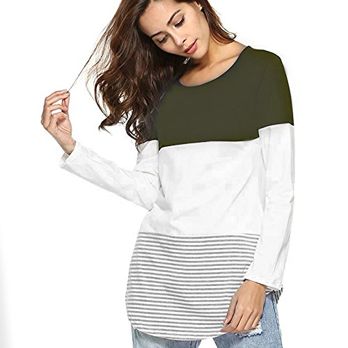 Tunic,Toimoth Women Daily Casual Long Sleeve Striped Patchwork Stretchy Tops Blouse T-Shirt (Army Green,S) ()