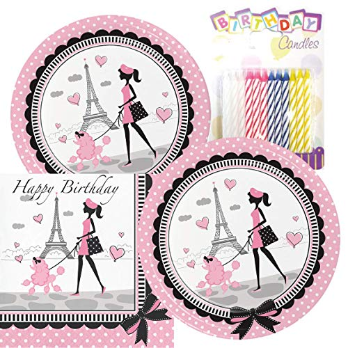 Party in Paris Happy Birthday Theme Plates and Napkins Serves 16 with Birthday Candles