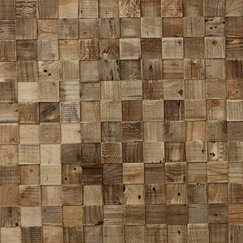Timberwall - Reclaimed Collection - Cube - DIY Wood Wall Panels - Solid Wood Planks - Nails and Staples Application - 8.2 Sq Ft